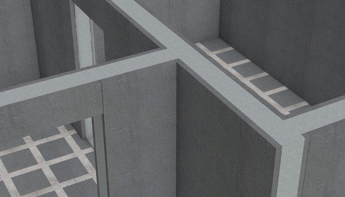 С верху стеновые панели стягиваются направляющим профилем.