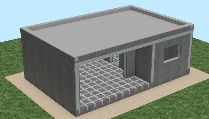 После сборки конструкции здания плоскую кровлю покрываем гидроизоляционной ПВХ мембранной. Также на данную конструкцию может быть смонтированная традиционная скатная кровля.