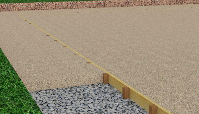 После монтажа труб систем канализации, водоснабжения и электроснабжения производится укладка геотекстиля с последующей подсыпкой 1-го слоя гранитного щебня или песка min 100 мм. По периметру пятна застройки устанавливается деревянная опалубка высотой 100 мм в горизонтальном уровне с использованием нивелира. По уровню опалубки отсыпается песок или щебень мелкой фракции с последующей утрамбовкой.
