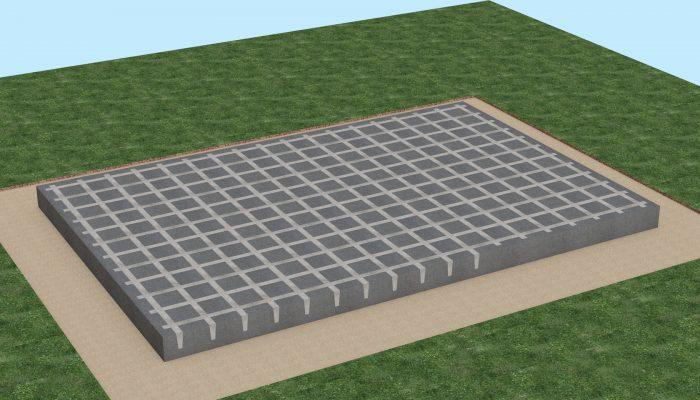 Производиться армировка киссонной опалубки , а также вклеиваются на полиуретановую клей-пену торцевые заглушки (идут в комплекте) по периметру киссонной плиты. Бетон укладывается методом беспрерывного литья с помощью бетононасоса и вибратора.
